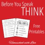 Before You Speak: THINK – Free Printables