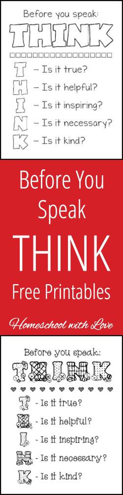 Before You Speak THINK Free Printables