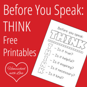 Before You Speak Think Free Printables