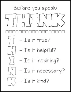 Before you speak think free printables for Thinking of you printable coloring pages