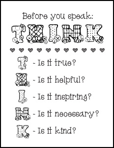 Before You Speak: THINK – Free Printables
