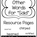 "Other Words for ""Said"" Resource Pages Free Sample"