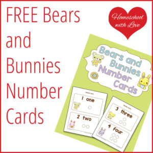 Free Bears and Bunnies Number Cards