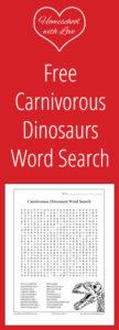 Free Carnivorous Dinosaur Word Search