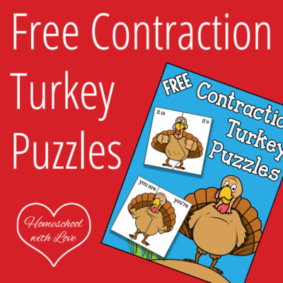 Free Printable Contraction Turkey Puzzles