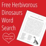 Free Herbivorous Dinosaurs Word Search