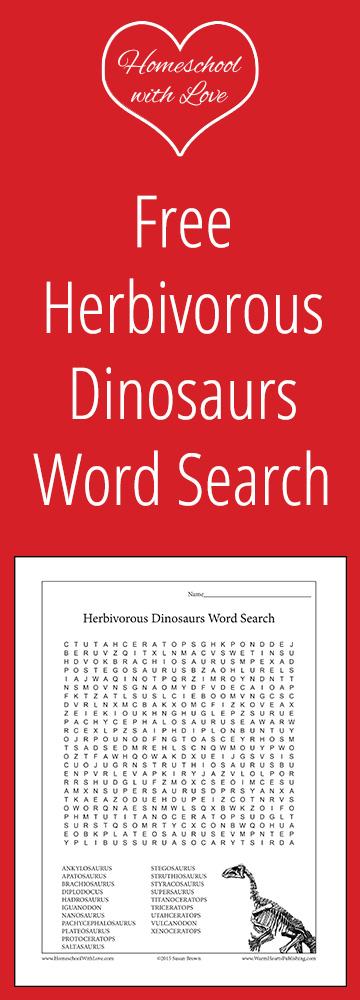 Free Herbivorous Dinosaur Word Search
