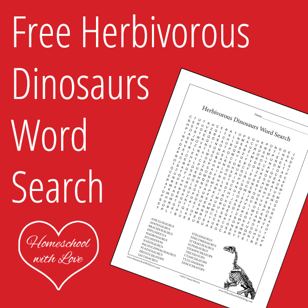 Free Herbivorous Dinosaurs Word Search