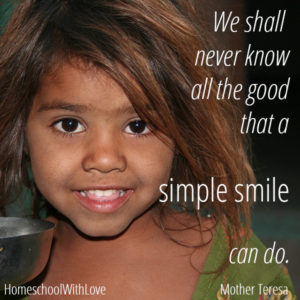 Mother Teresa quote on simple smile